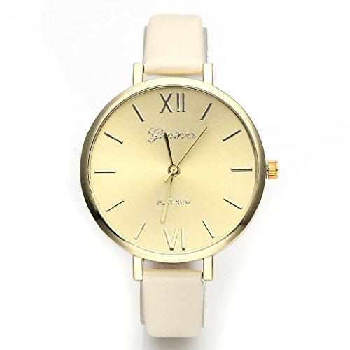 Relojes JSDDE, ginebra damas elegantes-reloj de pulsera de mujer con vestido delgado XS cuarzo analógico PU minimalismo reloj, Beige