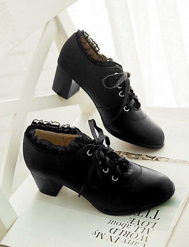ZQ Scarpe Donna - Stringate - Ufficio e lavoro / Formale / Casual - Tacchi / Punta arrotondata / Chiusa - Quadrato - Finta pelle -Nero / , 2in-2 3/4in-pink 2in-2 3/4in-black