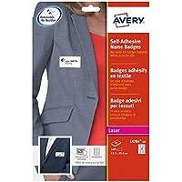 AVERY - Pochette de 540 badges autocollants imprimables pour textile, En soie d'acétate blanche, Format 63,5 x 29,6 mm…