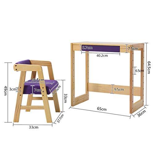 DAXIONG Massivholz Kindertisch und Stuhl Set, höhenverstellbarer Kinderschreibtisch, Essen/Lernen/Schreiben mit Schubladen