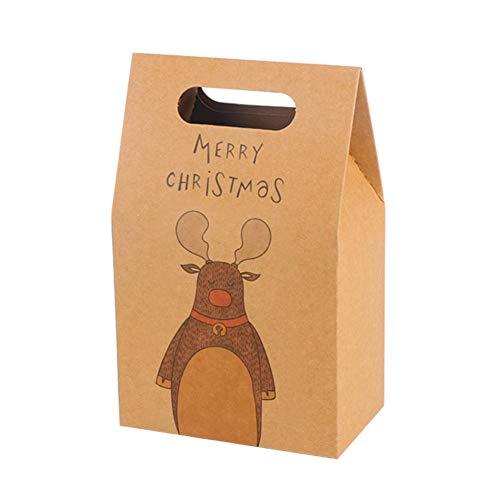 Geschenktüten aus Kraftpapier, mit Griff, traditionelles Muster, Weihnachtsmuster, Geschenktüten, eisbär, 15.5 * 9.7 * 6 cm