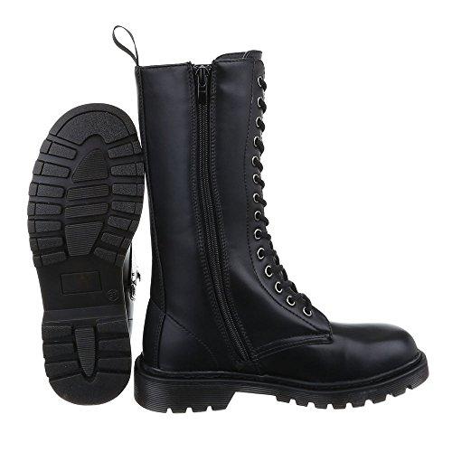 Ital-Design Komfortstiefel Damen Schuhe Klassischer Stiefel Blockabsatz Leicht Gefütterte Reißverschluss Stiefel Schwarz
