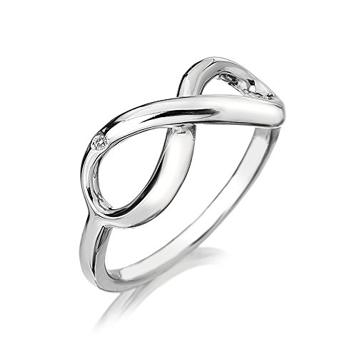 Hot Diamonds - DR144/N, Anello in argento con diamante, bianco, 14