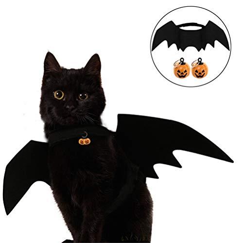 ASOSMOS Halloween Katze Kostüm Anzug Kürbisse Kragen Bell Black Bat Wings für Welpen Hund Katze