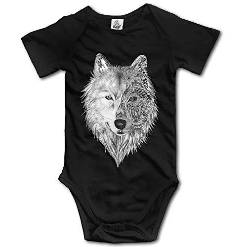 Babybekleidung Jungen Mädchen T-Shirts, Toddler Climbing Bodysuit Big Wolf Head Infant Climbing Short-Sleeve Onesie Jumpsuit