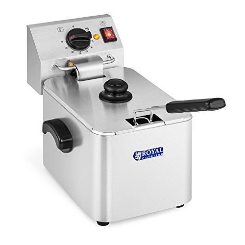 Royal Catering Friggitrice Professionale Friggitrice Elettrica RCEF 08E-EGO (8 L, 2.500 Watt, 230 V, Maniglia, Termostato E.G.O.)