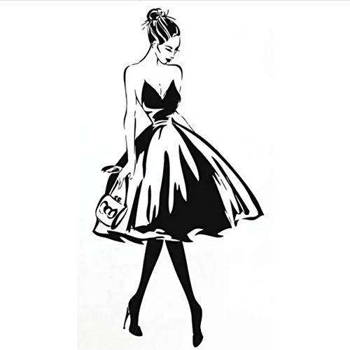 Wandtattoo Frau Gesicht Mode Stil Vinyl Wandaufkleber Kleidung Boutique Kleid Design Wand Poster Beauty Salon Dekor 57x29cm (Kleider Kleinkind Boutique,)