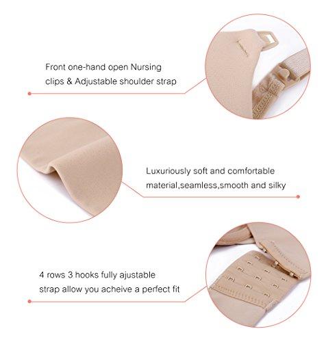 DotVol Damen Still BH Bügel Nahtlose Schwangerschafts-BHS Umstandsmode Unterwäsche mit Verstellbarer Verschluss (36DD=80E, Beige) - 6