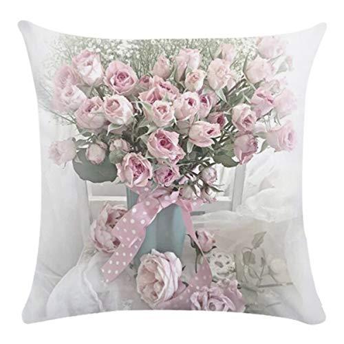 Puseky Funda Almohada Estampado Floral Exquisito