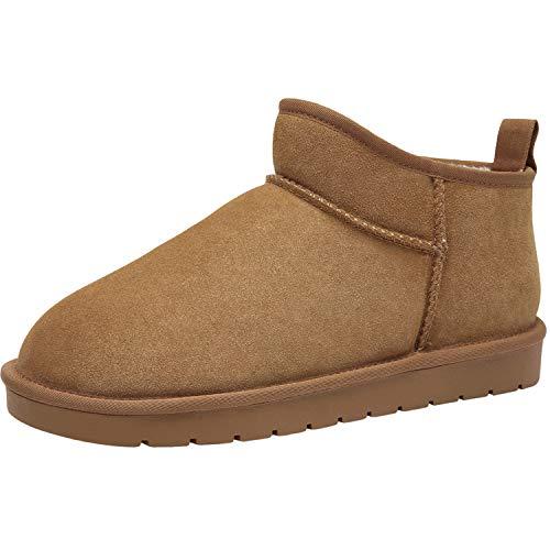 CAMEL CROWN Botas de Nieve Hombre Botines Calientes Zapatos de Invierno Al Aire Libre Fluff Antideslizantes...