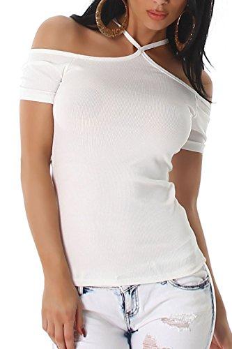 ... Sommer Oberteil Figurbetonend (34 bis 40) Weiß. Voyelles Damen Top, in Vielen  Größen und Farben Erhältlich, Schulterfrei mit Kurzen Ärmeln,