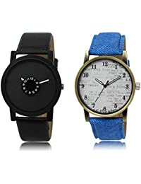 The Shopoholic Black White Combo Stylist Designer Combo Pack 2 Black And White Dial Analog Watch For Boys Men...