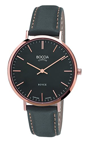 Boccia Women's Quartz Watch with Black Dial Analogue Display and Grey Leather Strap B3590-06