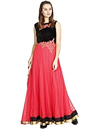 Manmandir Red Colour Womens Net Anarkali Readymade (Salwar Suits for Women)