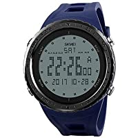 Lemumu Hombre Mujer reloj reloj deportivo doble exterior importante Montañismo impermeable reloj electrónico macho estudiantes LCD Multi - Función,azul