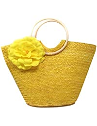 Di Grazia Women's Italian Straw Handbag with Flower (Yellow, Yellow-Tote-Straw-Handbag)