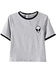 DELEY las Mujeres de Verano Alien Imprimir Camiseta de Manga Corta Blusa Casual Suelta la Camiseta Crop Tops