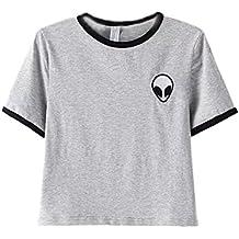 DELEY las Mujeres de Verano Alien Imprimir Camiseta de Manga Corta Blusa  Casual Suelta la Camiseta 6d8dcc666b5