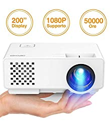 Projector, DBPOWER 2018 Updated Mini Beamer Multimedia Home Cinema Video Projector supports 1080P / USB / VGA / HDMI for Xbox / iPhone / Smartphone / PC, White