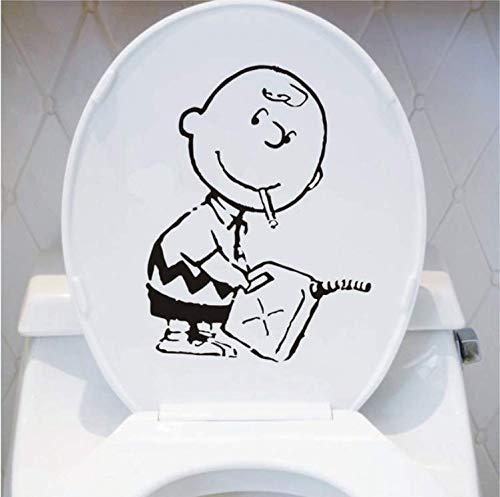 Charlie Brown Wandkunst Aufkleber Abziehbild Cute Cartoon WC-Dekoration Zubehör Schwarz 20X26.5Cm