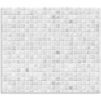 Wallario Herdabdeckplatte/Spitzschutz aus Glas, 1-teilig, 60x52cm, für Ceran- und Induktionsherde, Fliesen im Bad weiß-grau
