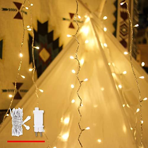 Lichterkette Strombetrieben, von myCozyLite®, 15m mit EU stecker, 100er Warmweiß LED für Innen und Außen Deko wie Weihnachten, Party, Garten, Hochzeit, Erweiterbar, mit 31V DC Transformator und Timer -
