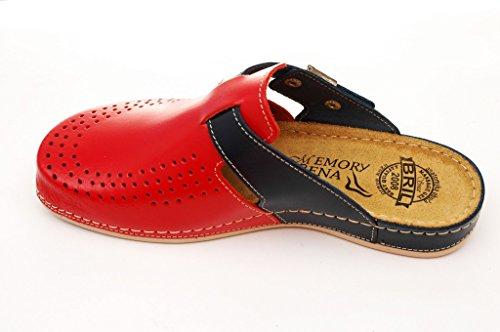 Dr Punto Rosso BRIL Y77 Sabots Mules Chaussons Chaussures en Cuir Femme Dames Rouge-Bleu