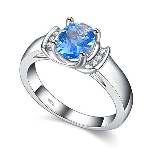 Argent 925 Femmes Bague aigue-marine Bleu Pierre de Cristal de bijoux pour mariage Taille 53