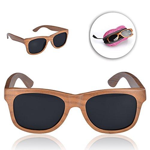 Sunroyal® Occhiali da sole Super Lenti Polarizzate originali in legno per Sport Uomo e Donna Occhiali sportivi Occhiali per la guida telaio stile wayfarer bambù eyewear (Sunglasses 01)
