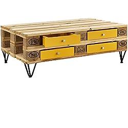 [en.casa]® Cajón elegante y original para europalé - se adapta perfectamente - DIY - mostaza (9,5cm x 37,5cm x 44,5 cm)
