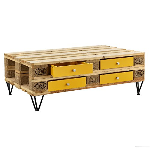 [en.casa]®] Cajón Elegante y Original para europalé - se Adapta Perfectamente - DIY - Mostaza (9,5cm x 37,5cm x 44,5 cm)