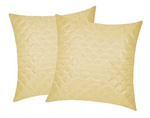 Box Quilting Beige Cushion Cover 30x30 Cms (Set of 2)