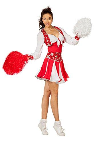 Basketball Kostüm - The Fantasy Tailors Cheerleader Kostüm Damen Rot Weiß Tänzerin Football Basketball Karneval Fasching Hochwertige Verkleidung Fastnacht Größe 36 Rot/Weiß
