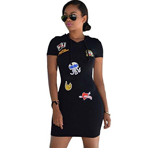 meinice-black-multi-color-patch-hoodies-sleeves-dress-m