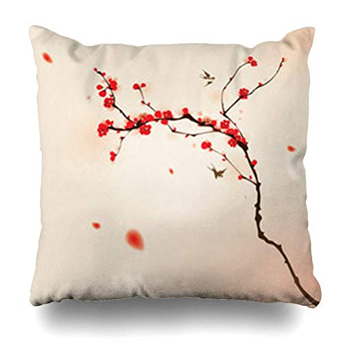 Cherry-stiftung (Monicago Zierkissenbezüge, Cherry Oriental Painting Plum Blossom Spring in Brush Bird Symbolize Love Happiness Pattern Japanese Pillowcase Square Size 18 x 18 Inches Home Decor Cushion Cases)