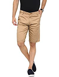Showoff Men's Beige Solid Chino Shorts
