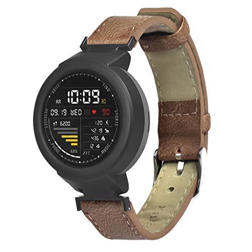 Bearbelly Armband Kompatibel mit Xiaomi Huami Amazfit Verge Jugend-Uhr A1808 Frosted Leder Sport Geschäfts Uhr Band Ersatz-Armband der Mattweinlese Leder-Sport-Armband-Bügel-Armband