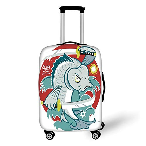 Travel Luggage Cover Suitcase Protector,Japanese,Koi Samurai Two Swords on Red Background Martial Art Animal Fighter Illustration,Green White,for Travel S