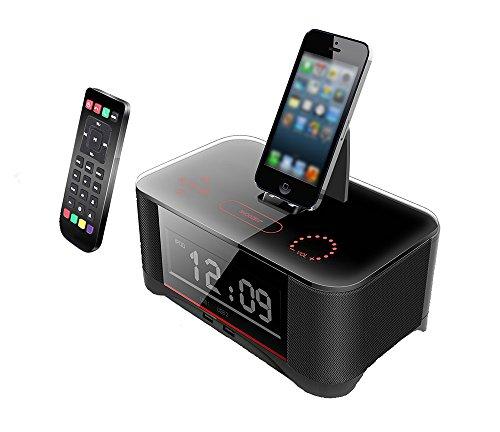 Mettime Clock Radio Dock Lautsprecher Bluetooth Alarm Ladestation FM Radio Dock Ladegerät und Geeignet für Samsung s4 und Android 4.1 über Mobiltelefon, Black