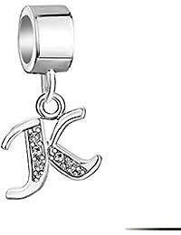 Casa de Novia Bijoux lettres de l'alphabet A-Z Lettre Charm Cristal Argent sterling 925Perles pour bracelets colliers bracelets