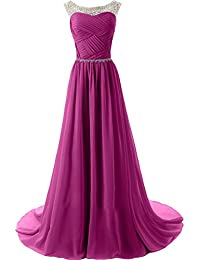 Topkleider Damen Elegant Rund Stein Paillette Chiffon A-Linie Abendkleider  Lang Partykleider… 1e7ad76def