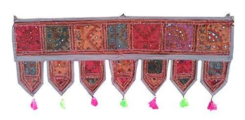 Rastogi artigianali Toran specchio etnico Window Valance Home Decor vintage embroidered patchwork Door Hanging Grey