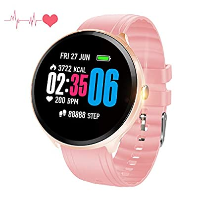 Bluetooth Smart Watch , Health & Fitness Tracker Smartwatch Blood Pressure Heart Rate Monitor Activity & Sleep-Tracking Watch ,Calls SMS Notification Remote Camera Music For iOS Android Phone (Black) from ShellBox-family