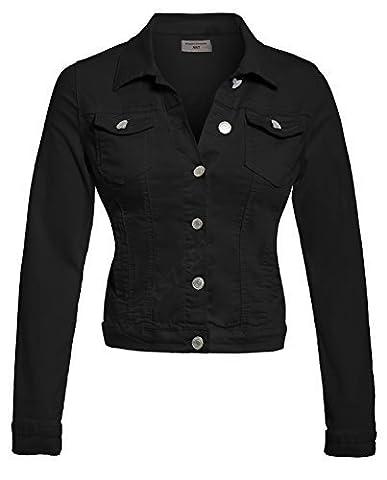 SS7 Nouvelles Femmes Extensible Veste En Jeans, Tailles 8 à 14 - Noir, EU 36