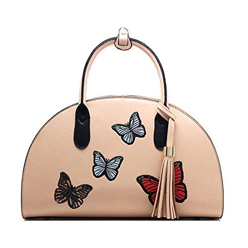 Chinesische Gestickte Tasche (Howoo PU Chinesisch klassischer Stil Gestickt Schultertasche Handtasche Bote Umhängetasche für Frauen / Mädchen Khaki)