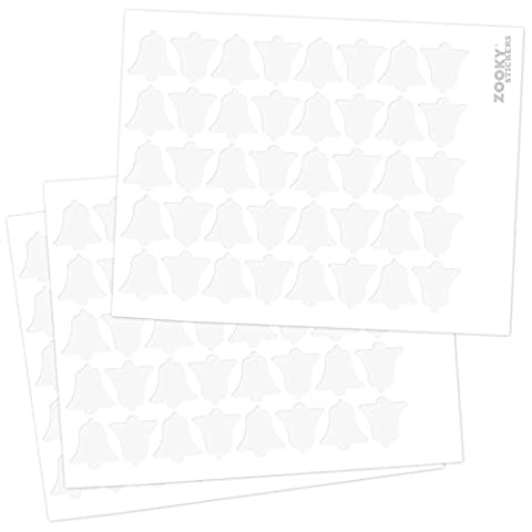 Zooky® 120 Stücke Weihnachts aufkleber Klingel / Glocke - förmige Aufkleber Wohndekoration Wand / Universal, Mittelgroß, Matt, (Weihnachten Läuten Glocken)