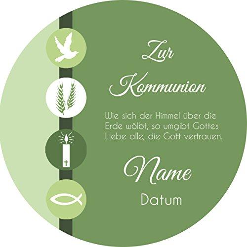 Tortenaufleger Kommunion4 grün mit Wunschtext / 20 cm Ø