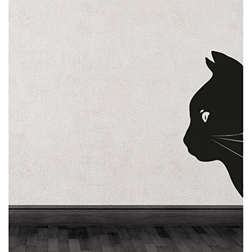 TJJQT Sticker Mural Black Cat Head Half Silhouette Cute Special Wall Decals Home Rooms Unique Decor Vinyl Wall Stickers Animals Series 18X42Cm