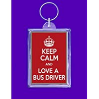 keyring double sided keep calm love a bus driver novelty funny new keychain key ring