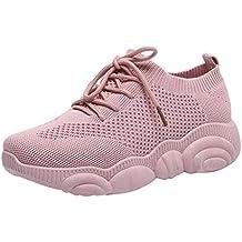 Zapatillas de Deportivos de Running para Mujer Zapatos de Malla Tejida voladora Gimnasia Ligero Sneakers Aire